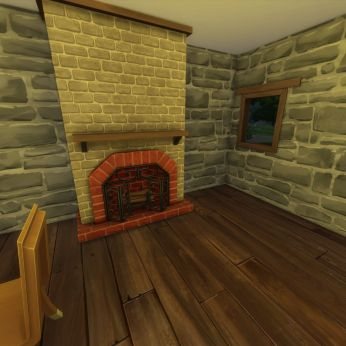 The fireplace in the kitchen